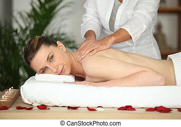 girl, dos, beauté, masage, avoir, salon