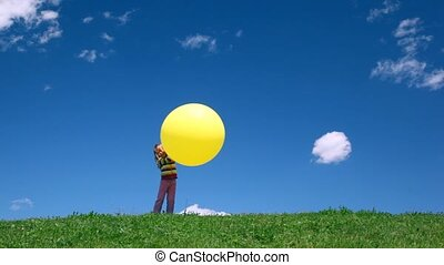 Girl down hill with bubble in hand - girl down hill with...
