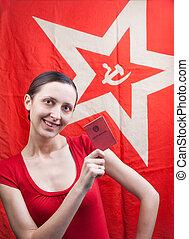 girl, drapeau, jeune, fond, rouges