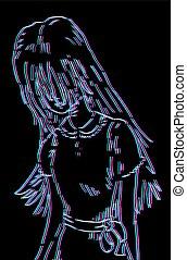 girl draw visual effect - Creative design of girl draw...