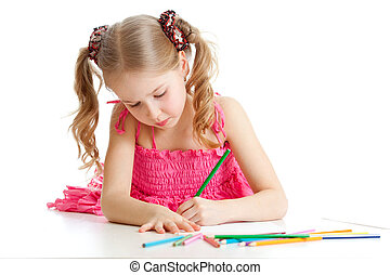 girl drawing a picture with color pencils