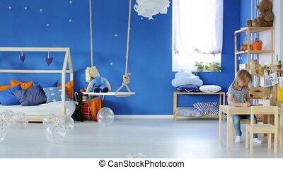 Girl drawing in her bedroom - Girl drawing in her heavenly...