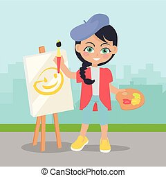 Girl Drawing on Easel on Landscape of Urban City