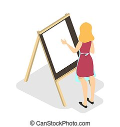 Young artist with brush paint a picture