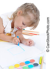 Girl draws on the album.