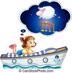 Girl dreaming on bed shaped of ship