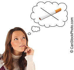Girl dreaming to quit smoking - Close-up portrait of girl ...