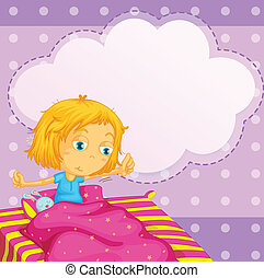 Girl dreaming - Illustration of a girl getting up