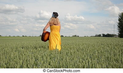 girl dress guitar field