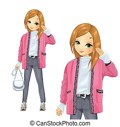 Girl Dress In Pink Style Long Cardigan