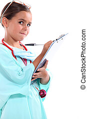 Girl dressed as a doctor