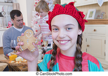 Girl dressed as elf at Christmas Time.