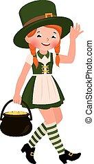 Girl dressed as Saint Patrick Day