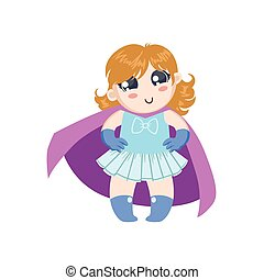 Girl Dressed As Superhero With Pink Cape