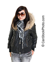 girl dressed for winter in glasses