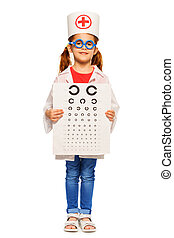 Girl dressed in ophthalmologist's costume and cap