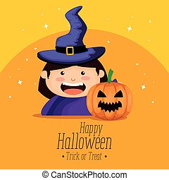 girl dressed up as a witch on halloween vector illustration...