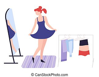 Girl dressing up in front of mirror clothes and fashion shopping hobby