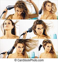 girl dries hair mosaic composition