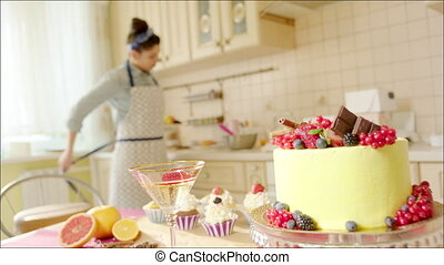 Girl drinking champagne in kitchen