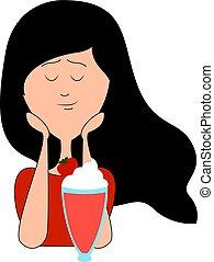 Girl drinking cocktail, illustration, vector on white background.