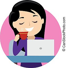 Girl drinking coffee with laptop