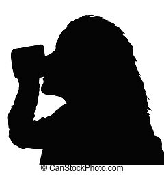 girl drinking from a cup black vector silhouette