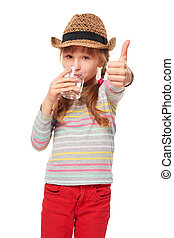 Girl drinking glass of water - Portrait of girl drinking...