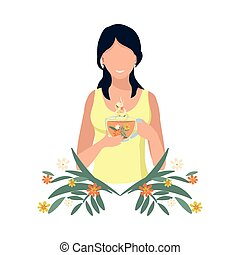 The girl drinks herbal tea for health. Alternative medicine and herbal medicine. Isolated vector illustration.