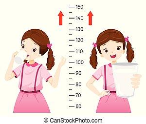 Girl Drinking Milk For Health And Taller. Girl Measuring Her Height.