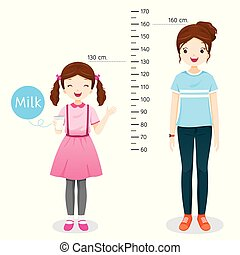 Girl Drinking Milk For Health. Milk Makes Her Taller. Girl Measuring Height With Woman.