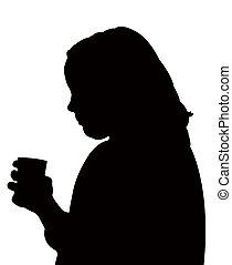 girl drinking, silhouette