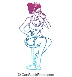 girl drinking soda pop art retro style circuit