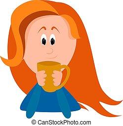Girl drinking tea, illustration, vector on white background.