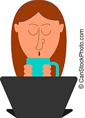 Girl drinking tea, illustration, vector on white background