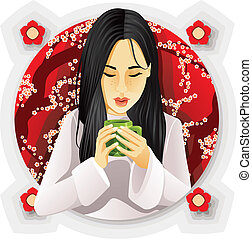 Girl Drinking Tea.