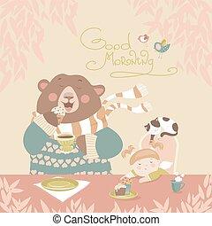 Girl drinking tea with a cute bear