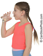 Girl drinks water from a glass
