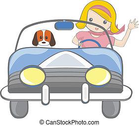 Girl driving car  - Girl driving a car
