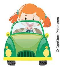 Girl driving green car