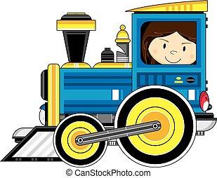 Girl Driving Train