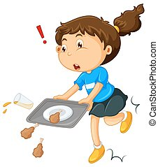 Girl dropping food on the floor