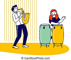 Girl Drummer and Boy Saxophone Player Playing Musical Composition Training before Jazz Performance on Stage or Exam. Talented Children Artists Study in Musical School Cartoon Flat Vector Illustration