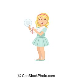 Girl Drying Clean Plate With Towel