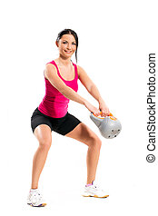 Girl during fitness exercise