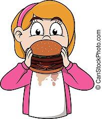 Girl eat burger cartoon