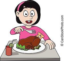 girl eat roasted chicken cartoon