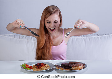 Girl eating a lot of food at once