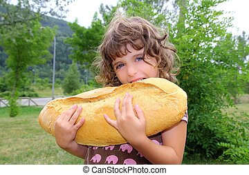 girl eating big bread humor size hungry child
