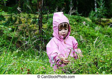 Girl eating blueberries - Young caucasian girl picking and...